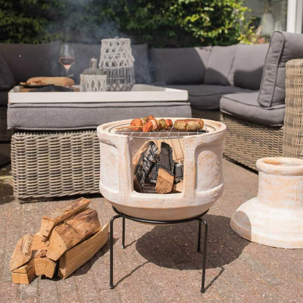 Clay Chimineas with BBQ grill