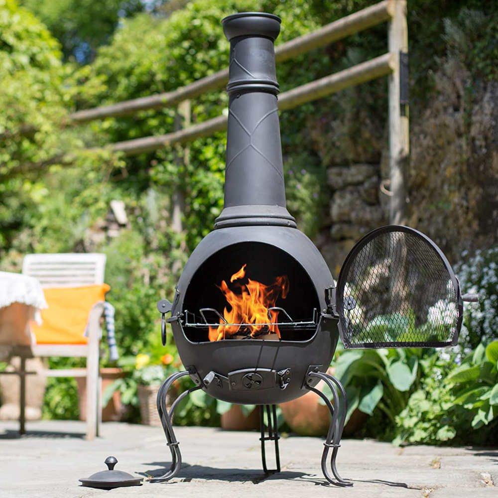 Steel Chimineas with BBQ Grill